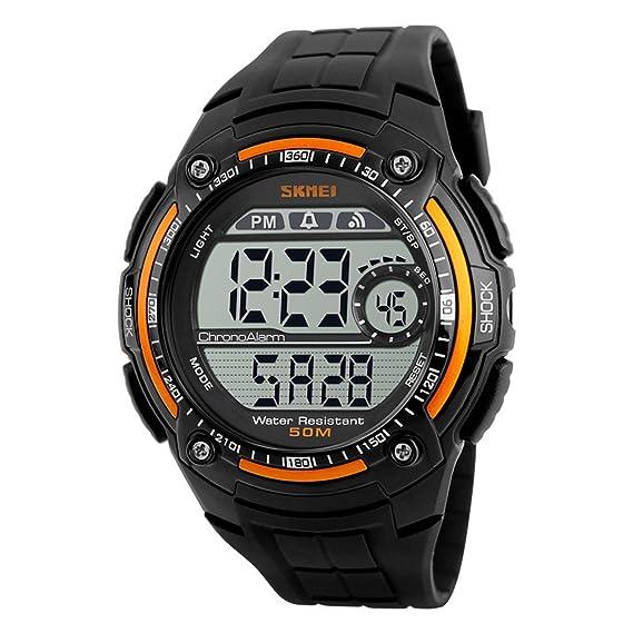 reloj digital grande de los hombres negros con naranja bisel de moda único de 12/24h reloj de pulsera correa de caucho de silicona: Amazon.es: Relojes