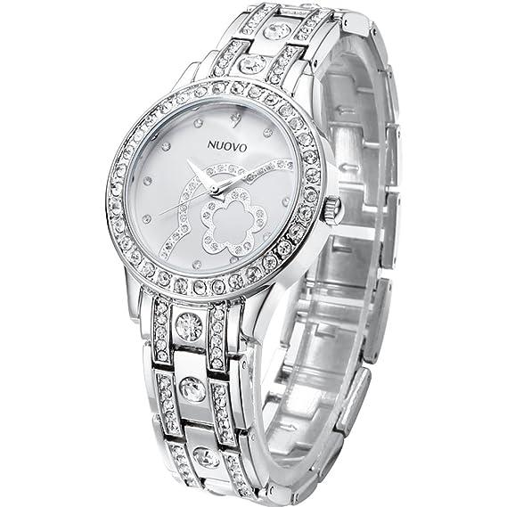 NUOVO Relojes Mujer Plateado Cristal Pulsera de Acero Inoxidable Diamante Cuarzo Analógico Relojes de Pulsera Resistente al Agua