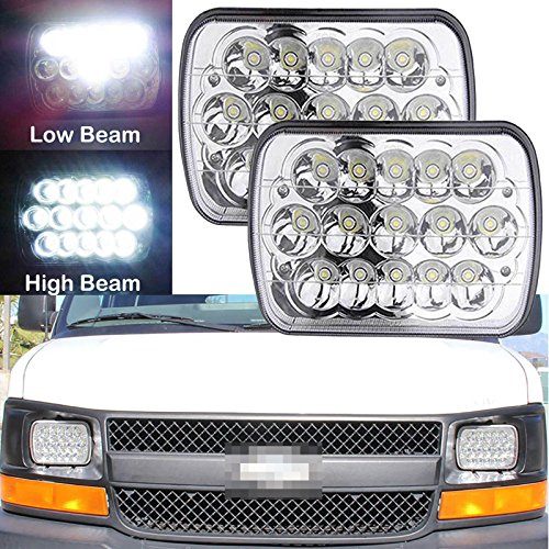 ghts For Chevy Express Cargo Van 1500 2500 3500 Van Replace H6014 H6052 H6054 H6054 H6012, Sealed Beam Rectangular Super Bright 6000k White Headlights High/Low Beam Conversion (Chevy Van Headlight)