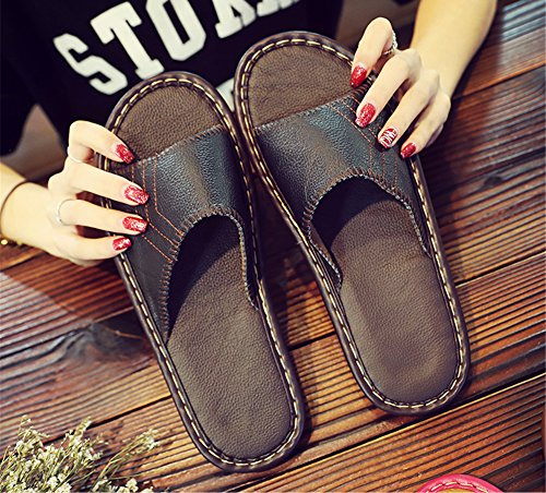 Slippers Autumn Anti Cowhide for Wooden Leather TELLW Women Smelly Noir W Corium Men Floor Summer Spring qBUwYxIvtn