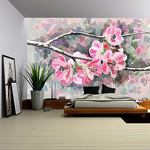 original painting of flower blooming spring tree watercolor style vector version