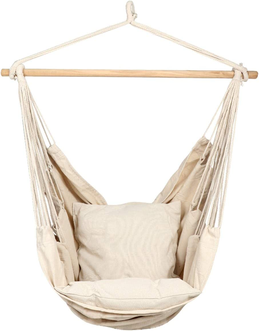 Amazon Com Caromy Hammock Chair Hanging Rope Swing Seat With Pillow And Carrying Bag Chair For Yard Bedroom Patio Garden Indoor Outdoor White Garden Outdoor