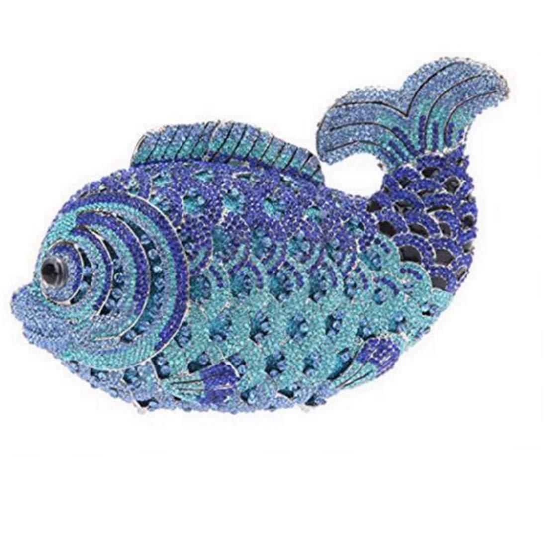 YUKILOCC Women Fish Crystal Clutch Evening Bags Handbag Animal Cross Body Bag (Color : Blue)