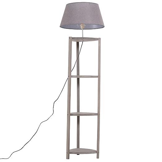 HOMCOM Lámpara de Pie Moderna para Dormitorio Estudio Salón con Luces E27 40W y Pulsador de Pie con Base Madera Inoxidable 158.5cm