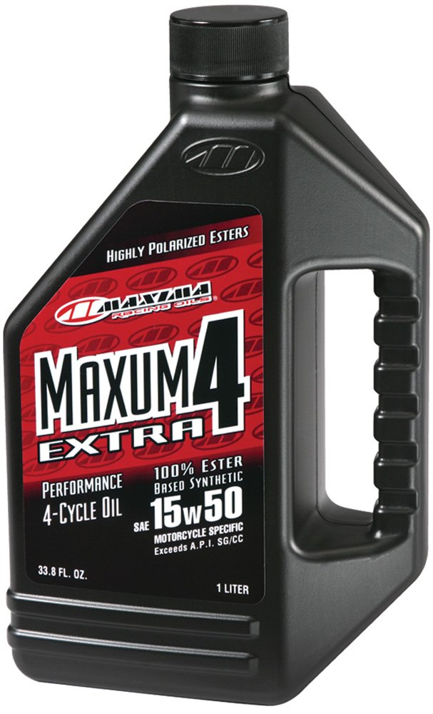 Maxima (32901) Extra4 15W-50 Synthetic 4T Motorcycle Engine Oil - 1 Liter Bottle
