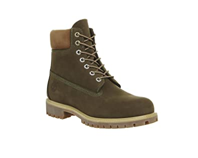 5b43c513f726 Timberland Mens 6 Inch Premium Leather Casual Waterproof Ankle Boots - Dark  Olive - 7.5