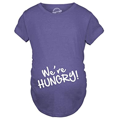 04326fc799 Crazy Dog Tshirts Maternity We're Hungry Funny Baby Bump Pregnancy  Announcement T Shirt (