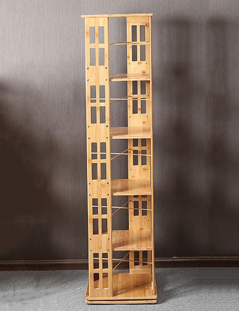 WSSF- 360°回転旋盤竹製の本棚の床マルチレイヤーの棚単純な子供の分冊器の本棚インドアの居間スタディルーム多機能ストレージユニットホルダーサイズオプション (サイズ さいず : 37*37*147.5cm) B07BVG45LS  37*37*147.5cm