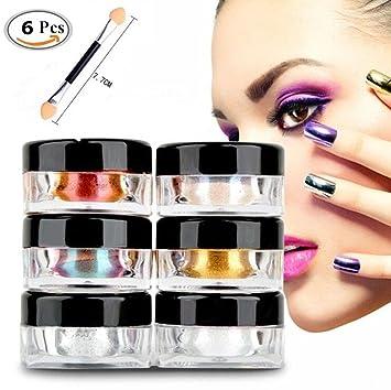 CIDBEST - Polvo de uñas efecto espejo en 6 colores, pigmento cromado, efecto purpurina para decorar las uñas (2g/caja): Amazon.es: Belleza