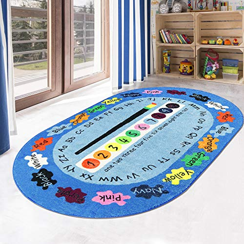 LIVEBOX Play Mat, Faux Wool Kids Play Area Rugs 4' x 6' Non-Slip Childrens Carpet ABC Number and Color Educational Learning & Gameor Living Room Bedroom Playroom Nursery Best Shower Gift