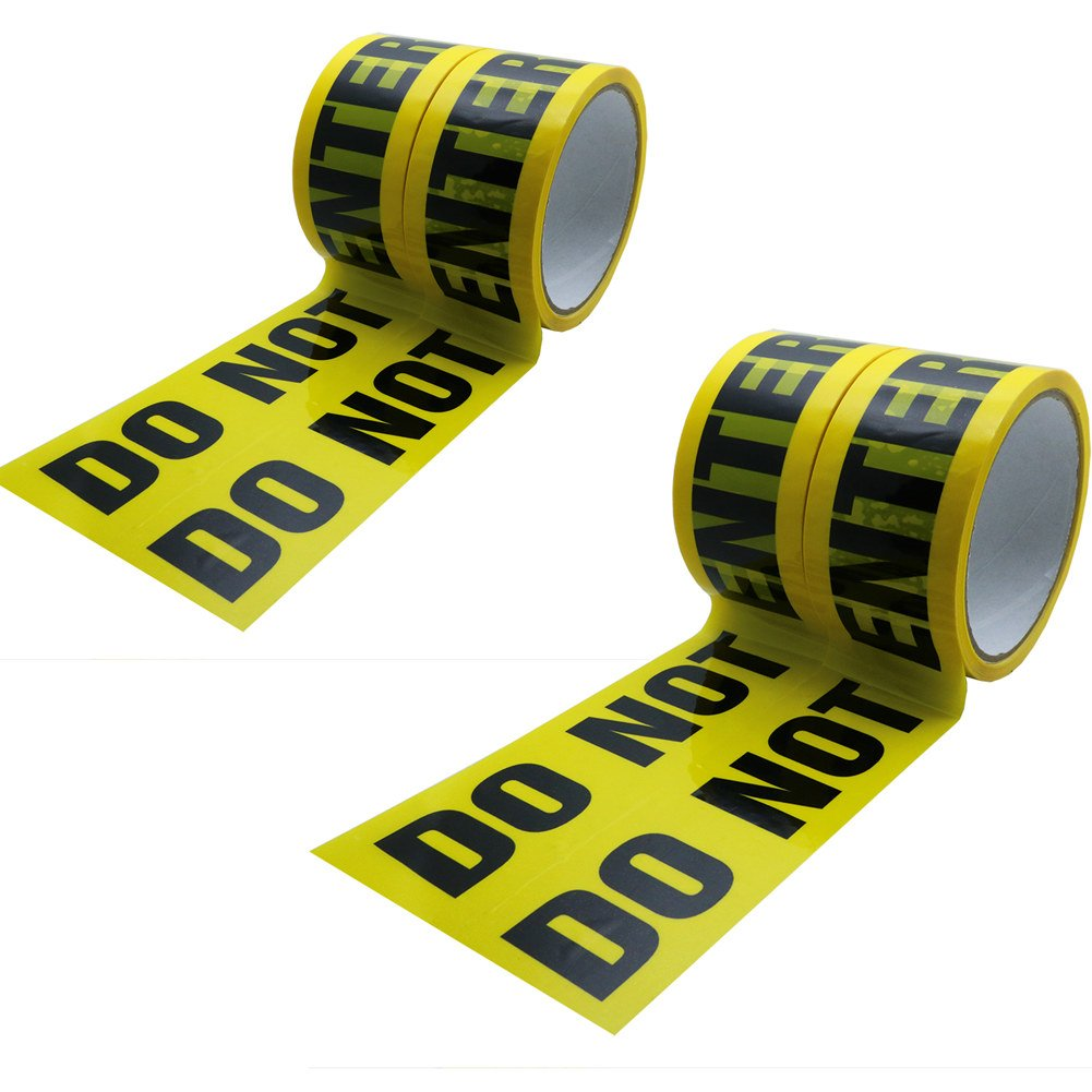 Hybsk 48MM(width) x 25M(length) Do Not Enter Warning Tape Yellow With Black Ink (4 Rolls)