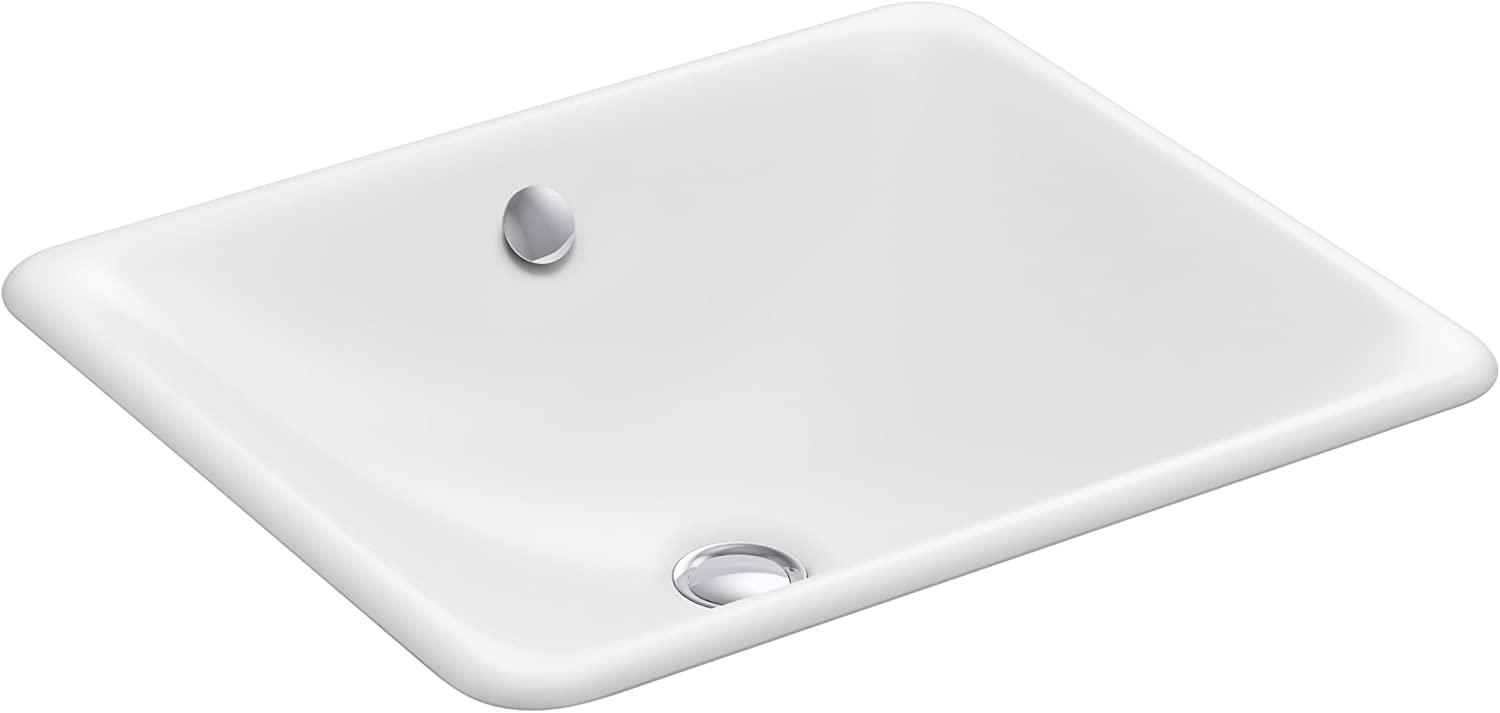 Kohler K-5400-0 Cast Iron undermount Square Bathroom Sink, 23.75 x 20.25 x 9.25 inches, White