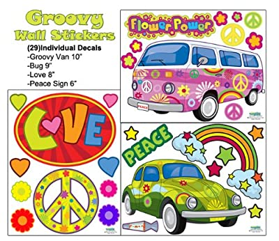 Groovy Wall Stickers Peace & Love Wall Decals For Teens Room Walls