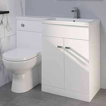 Aurora 1100mm Bathroom Vanity Unit Basin Square Toilet Combined Furniture L Hand White
