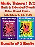 Music Theory 1 & 2 - Basic Chords & Extended Chords - Color Chord Tones: 1, 3, b3, 5, 7 b7, 9, 10 - Bundle of 2 Books: Learn Piano Chords
