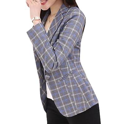 Abetteric Womens Plus Size Plaid Ladies Small Blazer Casual Autumn Jacket Coat