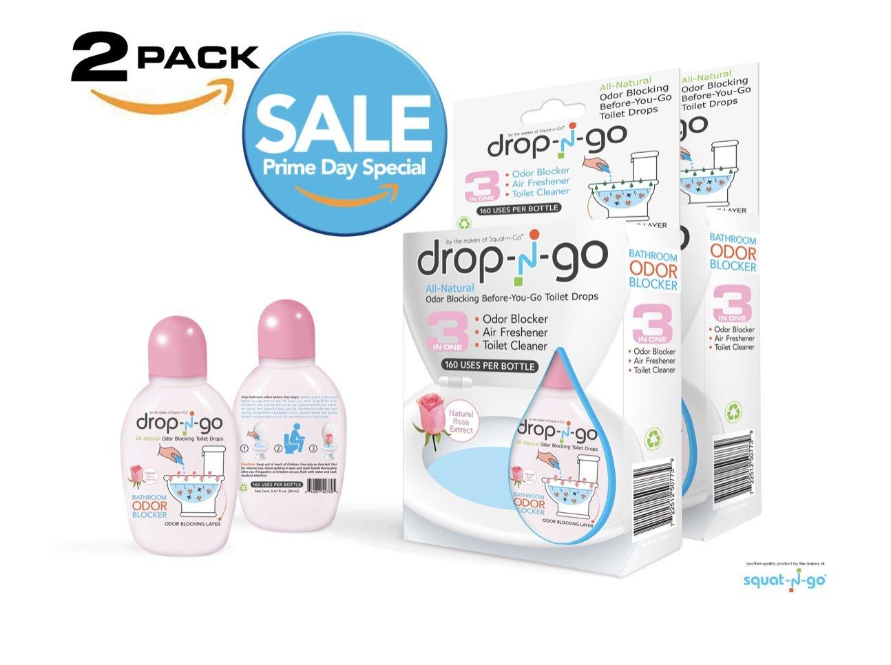 Drop-N-Go 3 in 1 : Ultimate All-Natural Bad Bathroom Odor Blocker, Air Freshener, Toilet Cleaner in Small & Discrete Bottle
