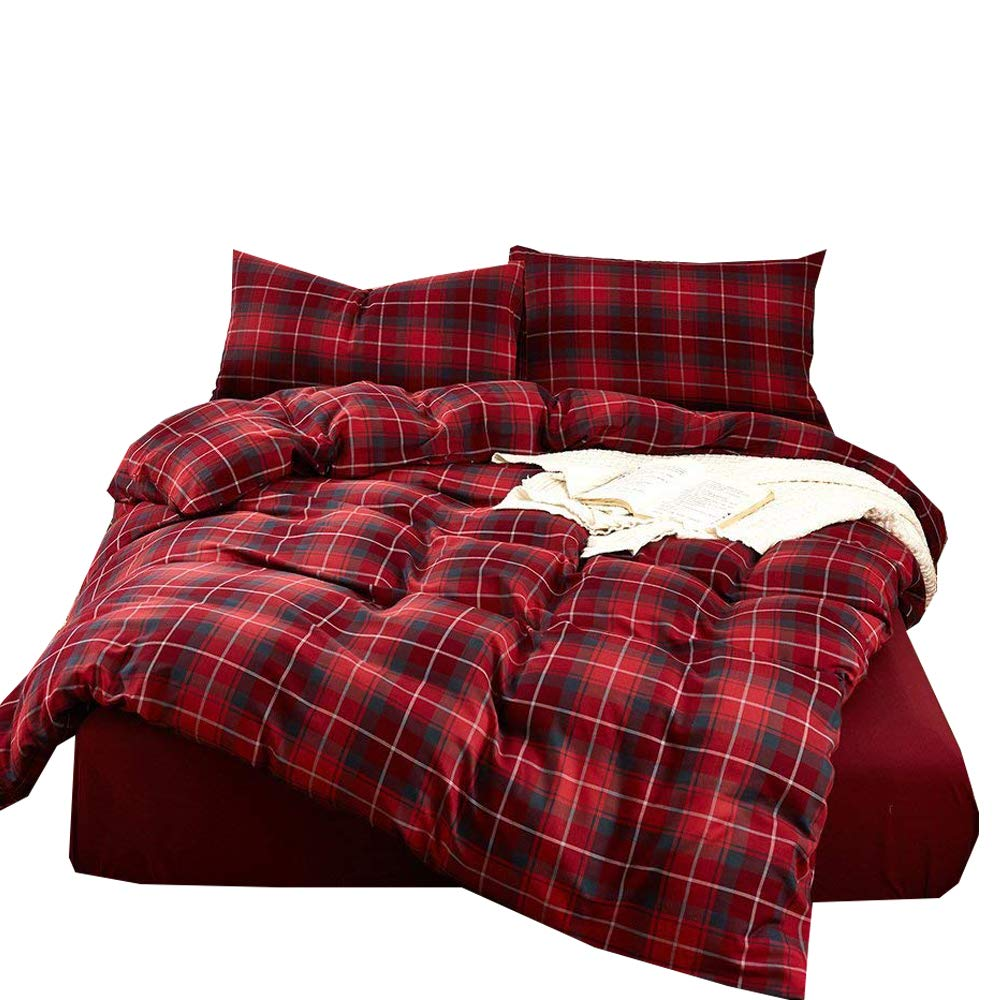 Enjoylife Elegant Reversible Bedding Set Printed Plaid 100% COTTON and FLANNEL 3 Pieces Duvet Cover Geometric Pattern Grid Gingham Quilt Cover for Kids/Teens/Adults (Red, Full/Queen)