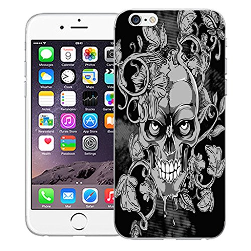 """Mobile Case Mate iPhone 6 4.7"""" Silicone Coque couverture case cover Pare-chocs + STYLET - Black Vine Skull pattern (SILICON)"""