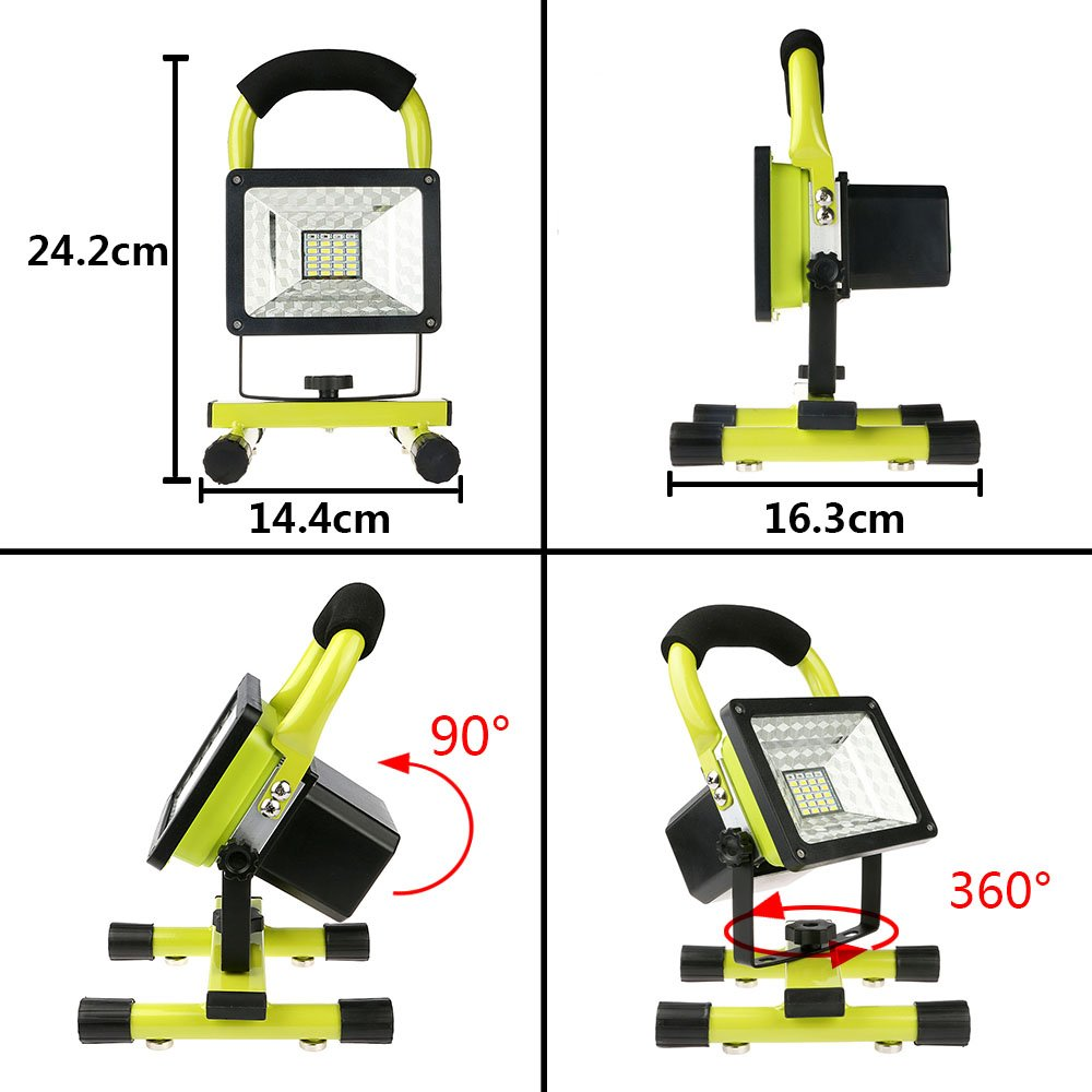 Rechargeable Work Lights with Magnetic Base - 15W 24LED Waterproof Outdoor Camping Lights, Built-in Lithium Batteries, 2 USB Ports to Charge Mobile Devices, Emergency Flashing Modes (Green) by Vanker (Image #3)
