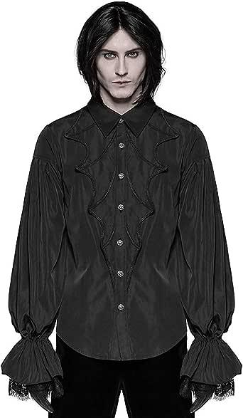 Punk Rave Hombre Vampiro Gótico Camisa Top Negro Steampunk Encaje Victoriano Boda: Amazon.es: Ropa y accesorios