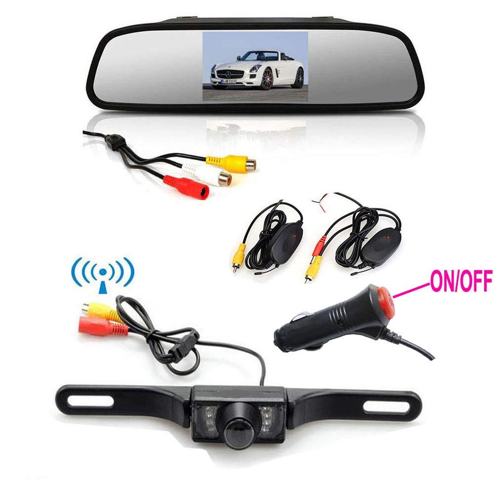 Wireless Car Rear View Camera Vehicle Backup Camera Monitor Kit 12V//24V 4.3 LCD Foldable Monitor 7 IR LEDs Night Vision Waterproof Car License Number Plate Camera Parking Assistance System