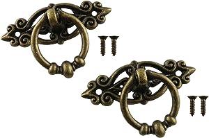 JCBIZ 4pcs 65x46mm Antique Brass Drawer Ring with Screws Bronze Furniture Decor Pull for Kitchen Cabinet Cupboard Dresser Door