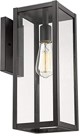 Bestshared Outdoor Wall Lantern 1 Light Exterior Wall Sconce Light Fixtures Wall Mounted Single Light Black Wall Lamp With Clear Glass 1 Pack