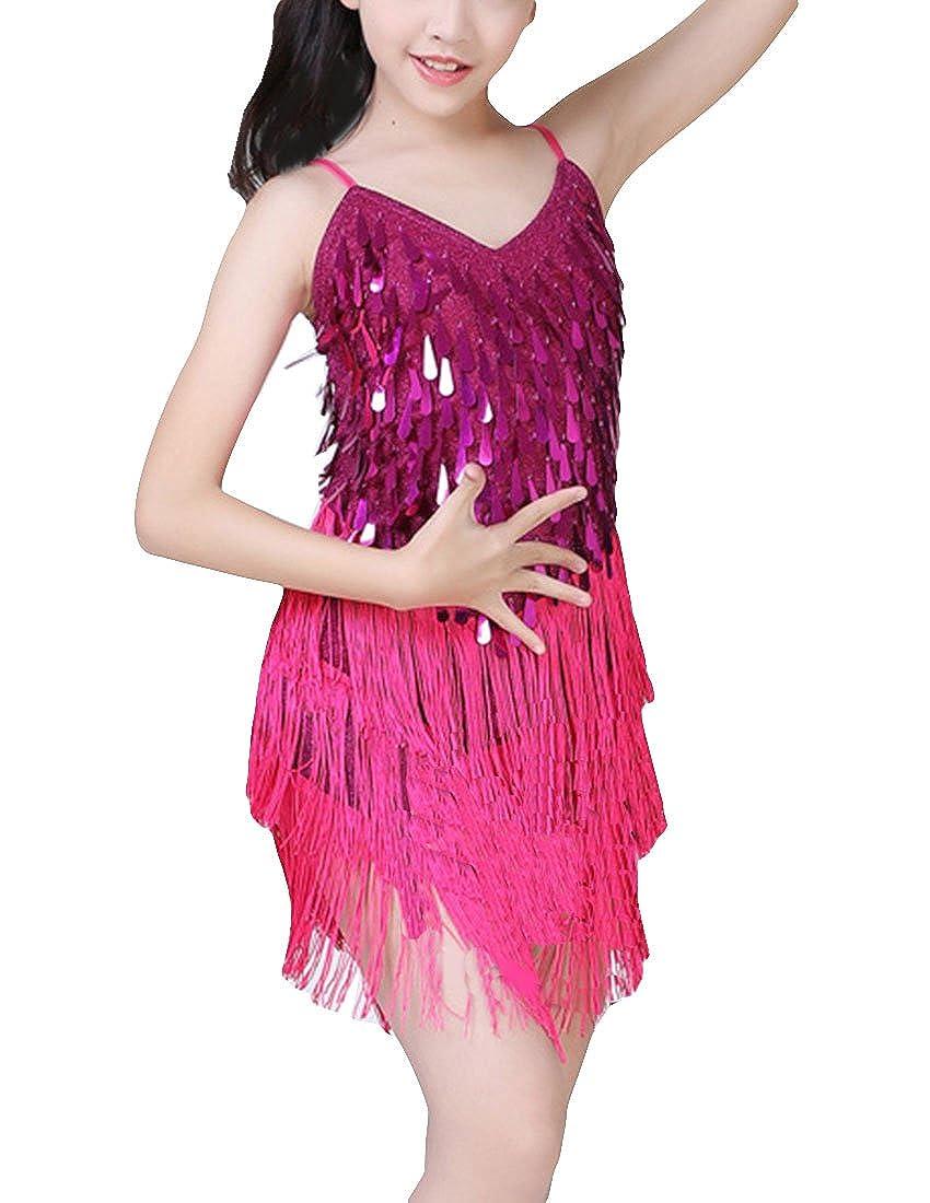 MFrannie Girls 3-8T Latin Dancer Sequins Illusion Flowing Tassel Dress