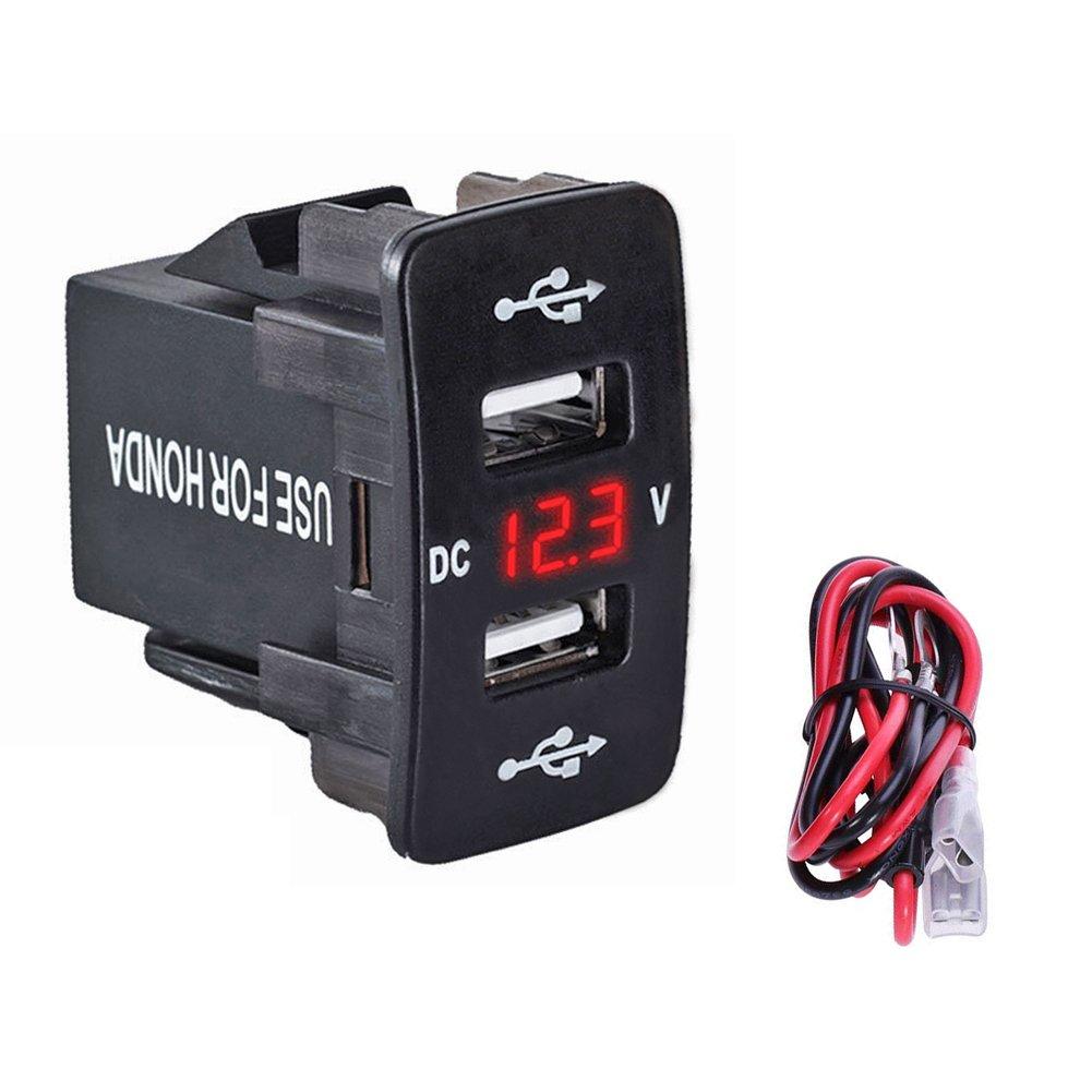 車デュアルUSB充電器、FicBoxクイック充電5 V / 4.2 a USB電源ソケットポートfor Honda withデジタルLCDモニタfor iPhone Androidスマートフォン、mp3プレーヤーGPS B07BJ3CZJJ