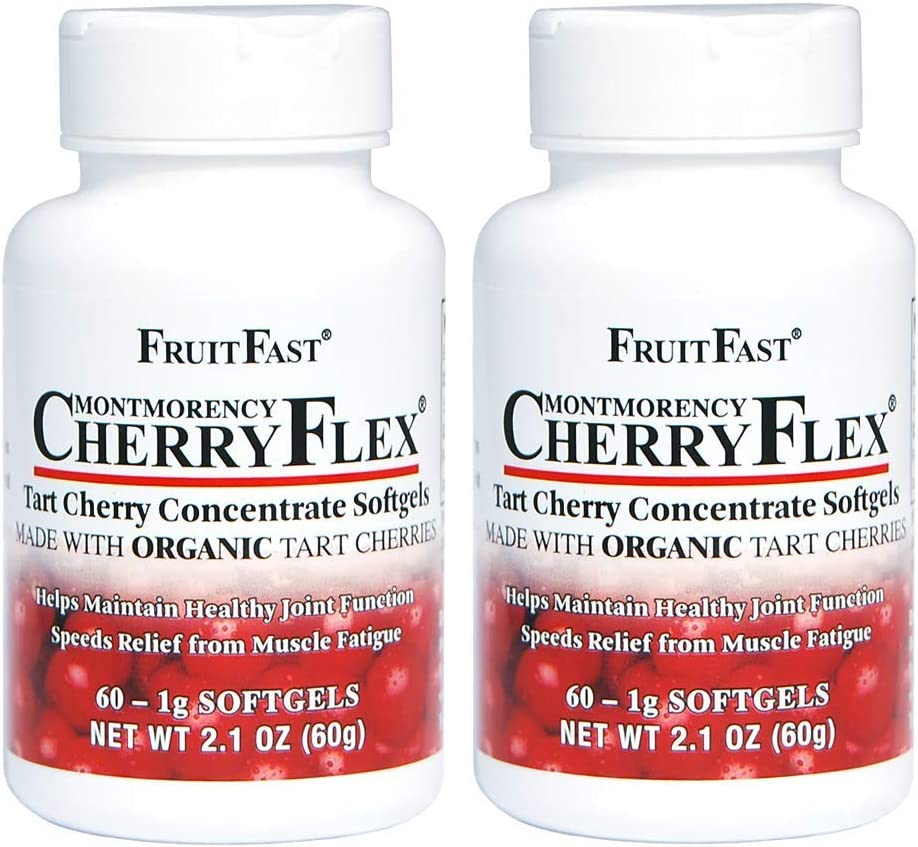 CherryFlex by FruitFast - 100% Red Tart Cherry Concentrate Supplement - Non-GMO and Gluten Free - Promotes Healthy Joint Function (120 Count)