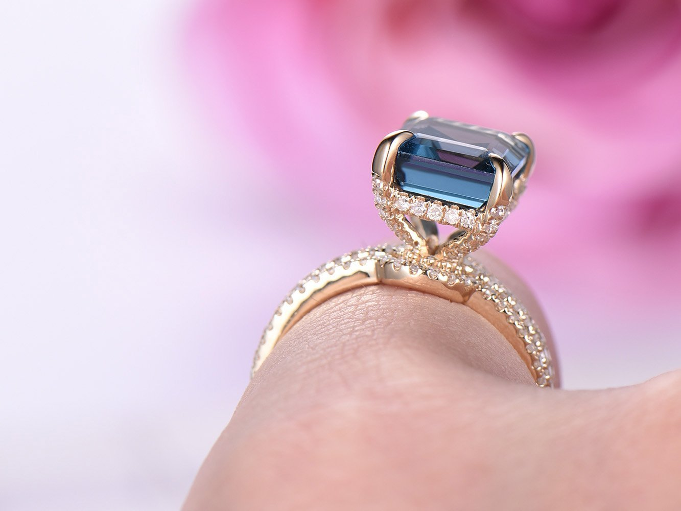 Amazon.com: Emerald Cut London Blue Topaz Engagement Ring Pave ...