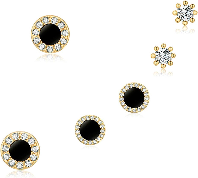 3 Pares Pendientes de Botón Negros Pendientes Diamantes Redondos Oro Mujer
