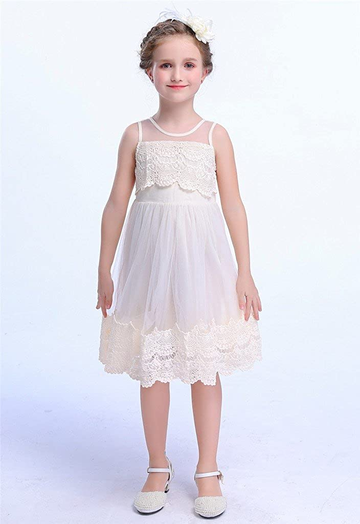 22eae4f48db Amazon.com  Happy Rose Ivory Cream Light Brown White Vintage Lace Flower  Girl s Dress  Clothing