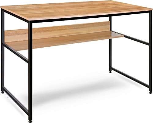 Computer Desk, Modern Office Table with Open Bookshelf, Simple Study Desk Office Desk Game Table, Studio Collection Desk Table Computer Table 47 Inches Nordic Walnut