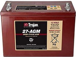 Trojan T27-AGM 12V 89Ah Group 27 Dual Purpose Deep Cycle Battery