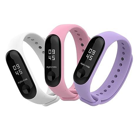 BDIG Bracelet de Montre pour Xiaomi mi Band 3,Sport Silicone Bracelets de Remplacement pour Miband 3 activité de Remise en Forme (3PCS Sets C)