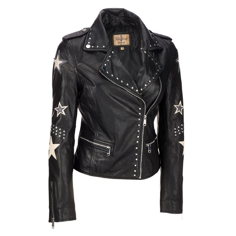 Wilsons Leather Womens Vintage Asymmetric Leather Jacket W/Star Accents XS Blac
