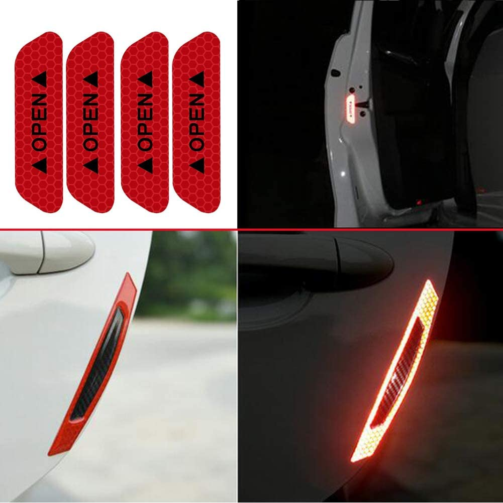 Red Car Door Open Reflective Warning Stickers Night Visibility Safety Anti-Scratch Protection Carbon Fiber Strips 8 Pack WindCar Universal Car Side Door Edge Bumper