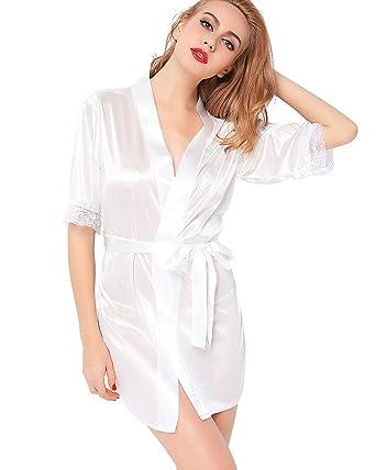 Women s Satin Kimono Robe Lace Dressing Gown Silk Short Bathrobe Sleepwear  White  Amazon.co.uk  Clothing aed0a12ed