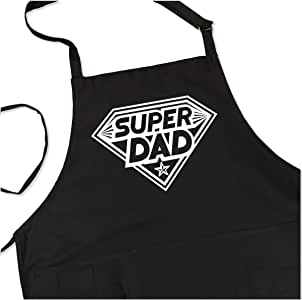 BBQ Grill Apron - Super Dad - Funny Apron For Dad - 1 Size Fits All Chef Apron Poly/Cotton 4 Utility Pockets, Adjustable Neck and Extra Long Waist Ties