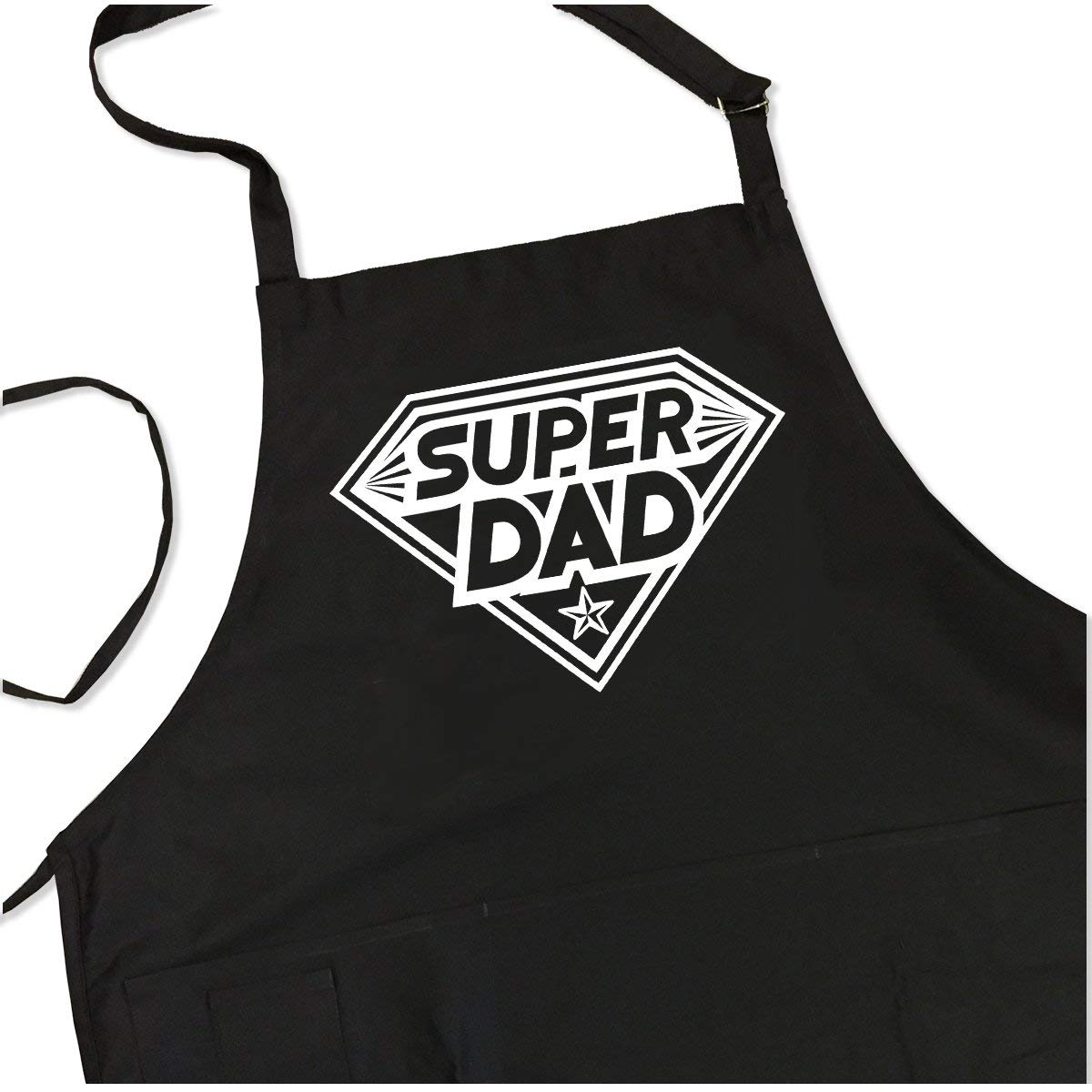 BBQ Grill Apron - Super Dad - Funny Apron For Dad - 1 Size Fits All Chef Apron High Quality Poly/Cotton 4 Utility Pockets, Adjustable Neck and Extra Long Waist Ties