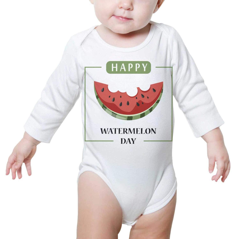 PoPBelle Happy Watermelon Festival Baby Onesie Clothing Long Sleeve Organic Cotton Unisex