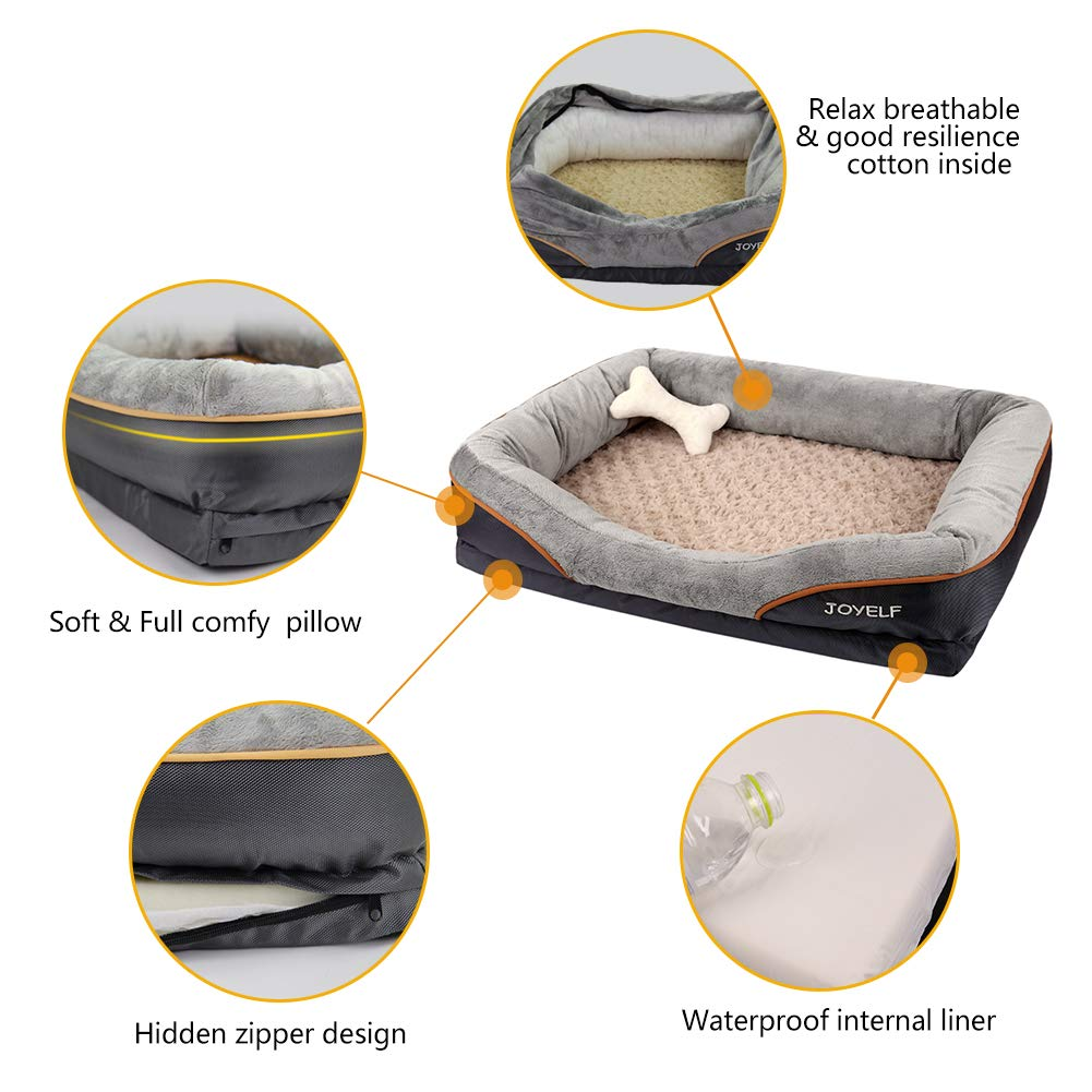 JOYELF Memory Foam Dog Bed Small Orthopedic Dog Bed & Sofa with Removable Washable Cover and Squeaker Toy as Gift by JOYELF (Image #3)