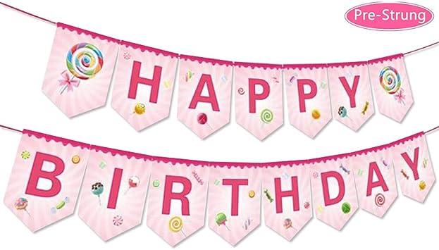 Pancarta de cumpleaños Anor Wishlife Candyland con diseño de ...