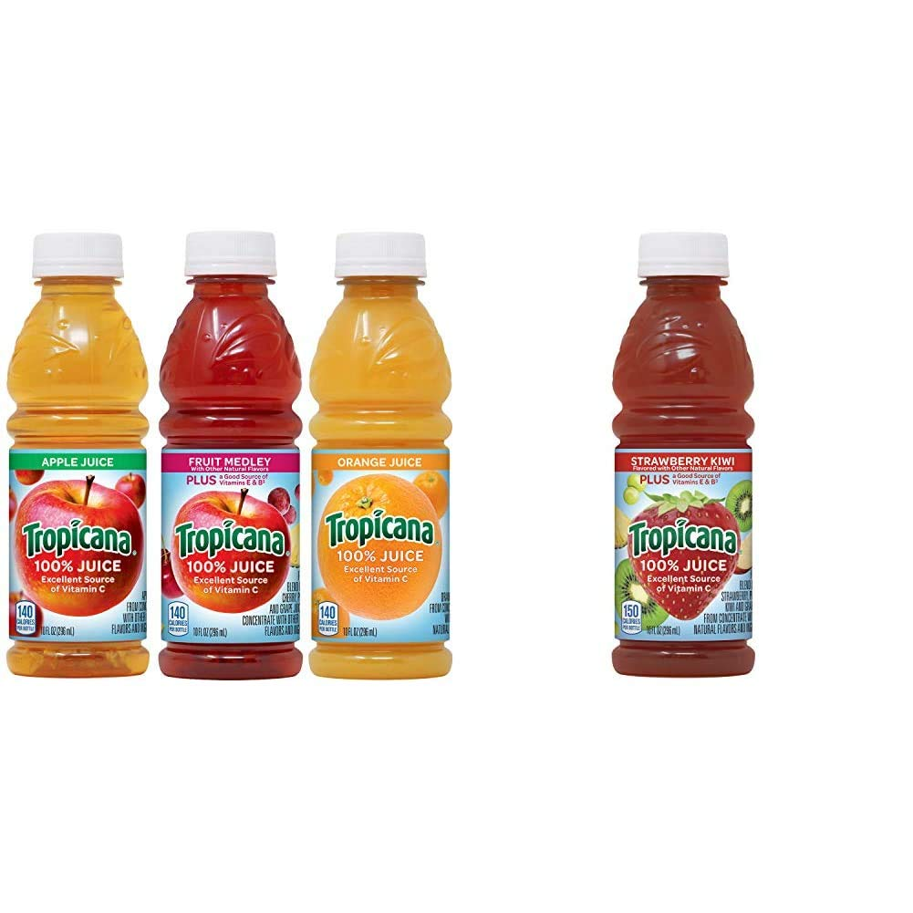 Tropicana 100% Juice 3-flavor Classic Variety Pack, 10 Ounce Bottles, 24 Count & Juice, Strawberry Kiwi, 10 Ounce (Pack of 15)