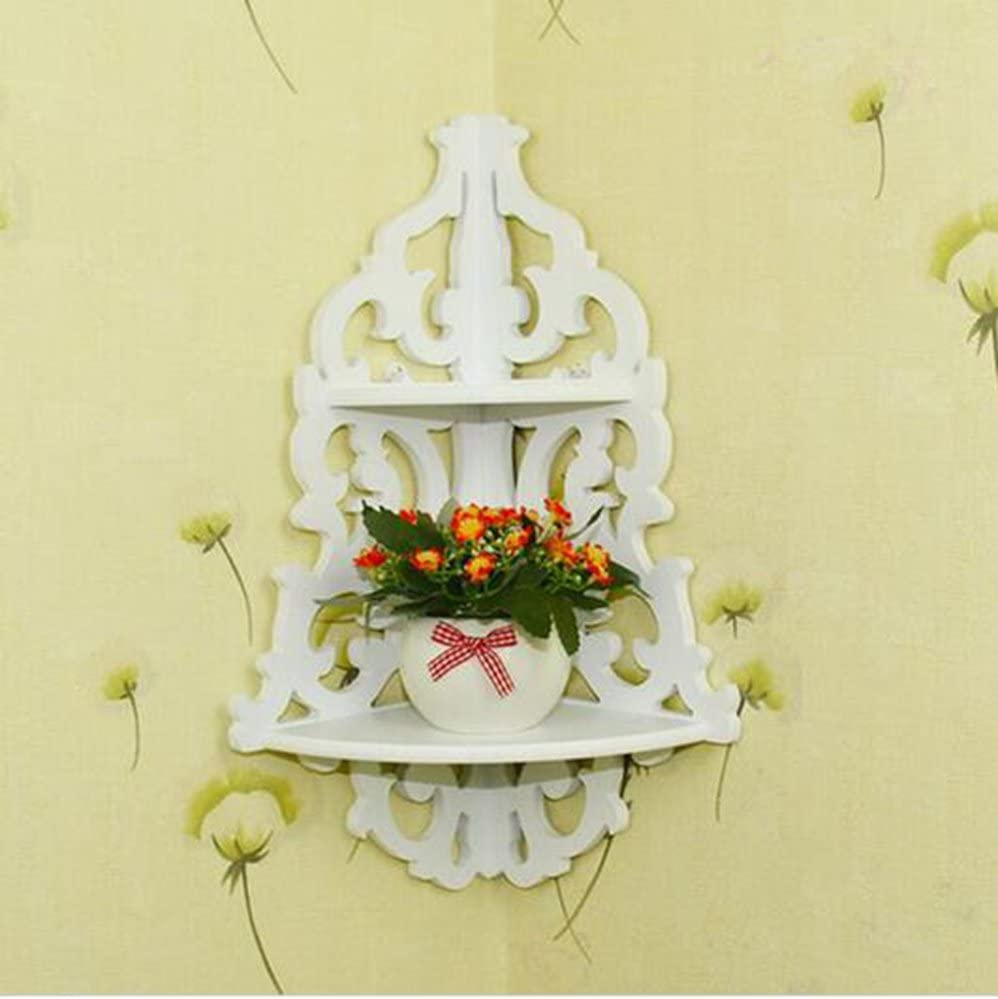 2 Layers LongTN Blanc sculpt/é Panneaux muraux Mural dangle /étag/ère Rack de Stockage Pot de Fleurs de Bain Support Double de Salle de Bain /étag/ères /à linsertion de Type