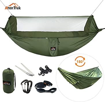 10 FT//18+1 Loops Hiking AnorTrek Camping Hammock Parachute Hammock for Camping Lightweight Portable Single /& Double Hammock with Tree Straps Garden