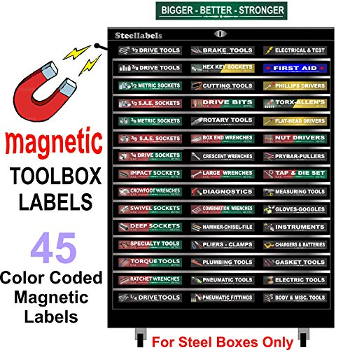 Ultimate Magnetic Tool Box Organizer Labels (Green edition) organize boxes, drawers & cabinets