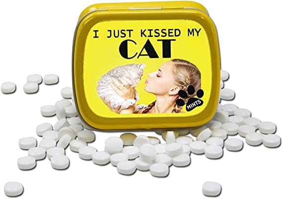 I Just Kissed My Cat Mints – Funny Gift for Cat Lovers – Crazy Cat Lady Gifts – Funny Mint Tins - Stocking Stuffers for Cat People – Wintergreen Mints by Gears Out